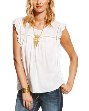 Ariat Women's White Libby Top , White, hi-res