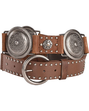 Roper Women's Brown Conchos Nail Head Leather Belt , Brown, hi-res