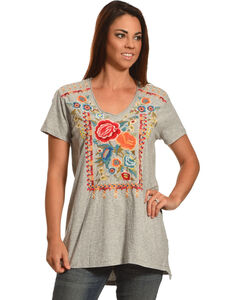 Johnny Was Women's Lucla Relaxed V-Neck Tee, Grey, hi-res