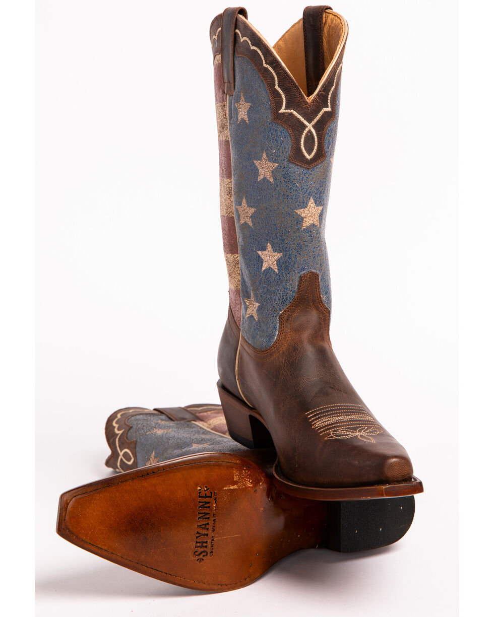 Shyanne Women's American Flag Cowgirl Boots - Snip Toe, Brown, hi-res