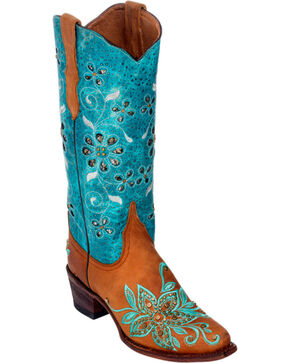 Ferrini Tan Star Power Cowgirl Boots - Pointed Toe, Tan, hi-res