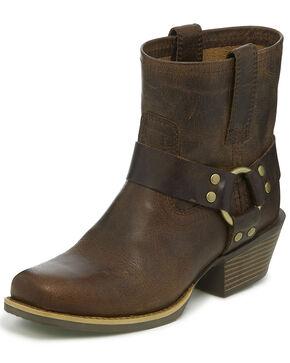 Justin Women's Heritage Buffalo Moto Boots - Square Toe, Brown, hi-res