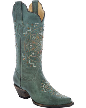 Corral Embroidered Flower Studded Cowgirl Boots - Snip Toe, Jade, hi-res