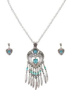 Shyanne Women's Heart Dream Catcher Jewelry Set , Silver, hi-res
