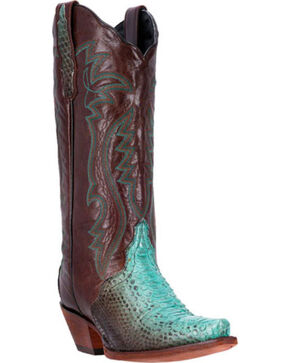 Dan Post Charmer Python Cowgirl Boots - Snip Toe, Brown, hi-res