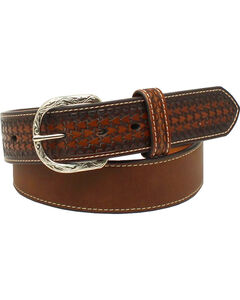 Nocona Men's Leather Ribbon Knot Belt , Brown, hi-res