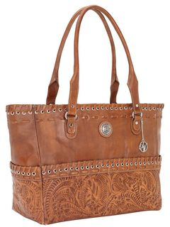 American West Leather Laced Carry-On Leather Tote, , hi-res
