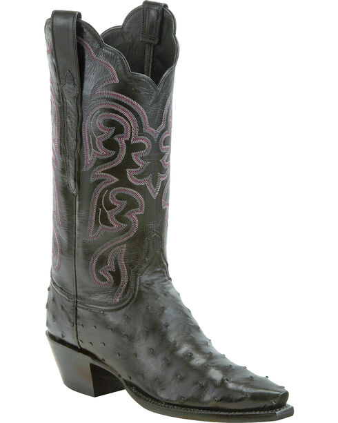 Lucchese Women's Black Audrey Full Quill Ostrich Western Boots - Snip Toe, Black, hi-res