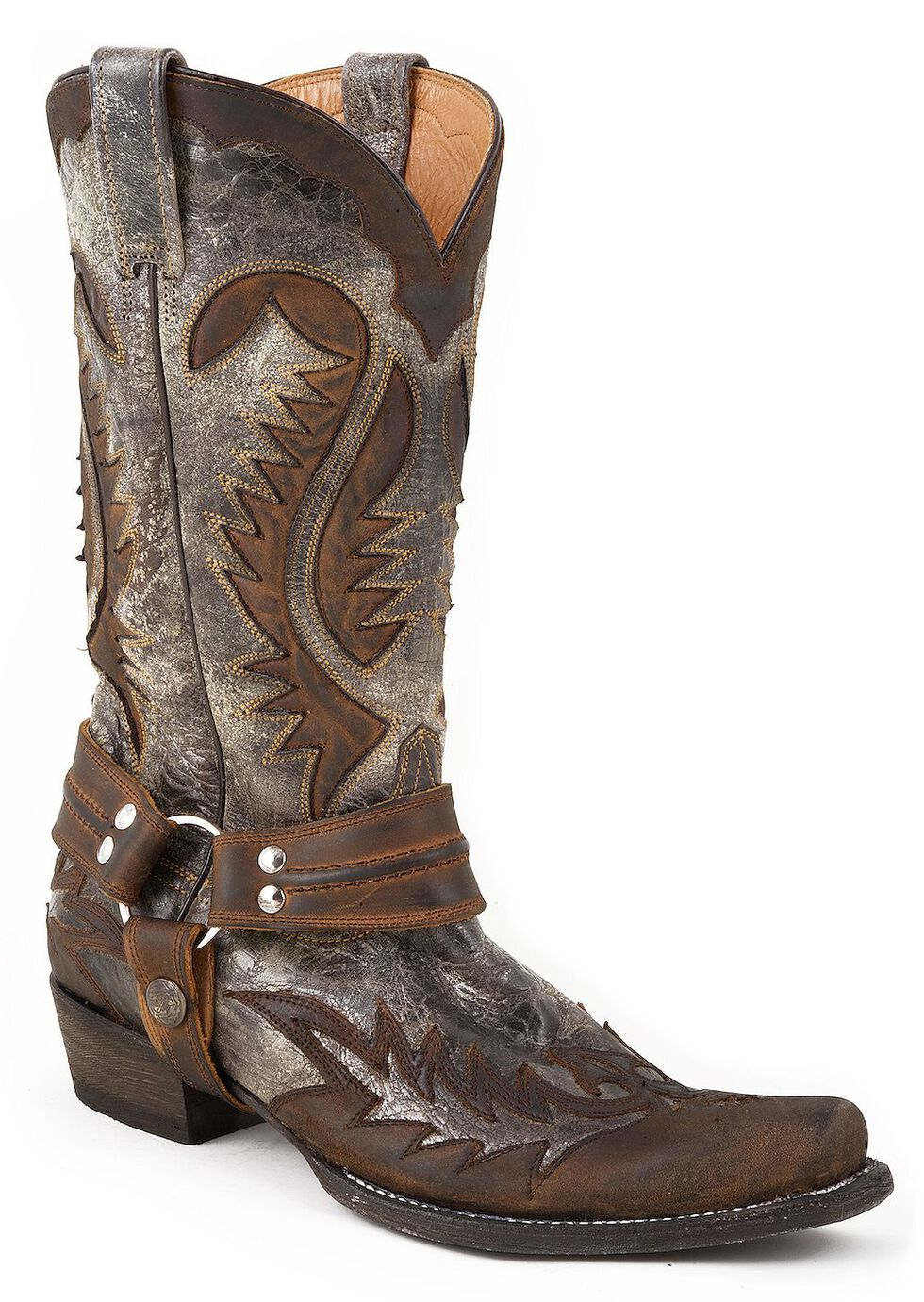 Stetson Crackle Harness Cowboy Boots - Snip Toe, Brown, hi-res