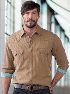 Ryan Michael Men's Beacon Blanket Silk Jacquard Shirt, Tobacco, hi-res