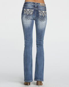 Miss Me Women's Mid-Rise Tribal Pocket Western Jeans - Boot Cut , Blue, hi-res