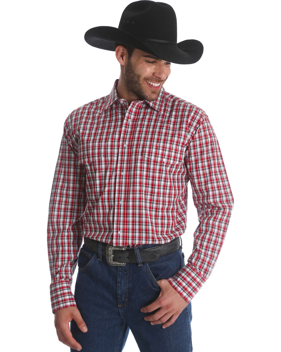 Wrangler Men's Red Wrinkle Resistant Long Sleeve Shirt - Big and Tall , Red, hi-res