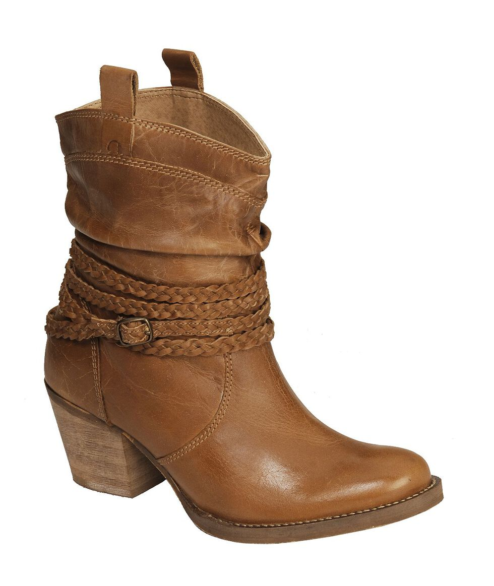 Dingo Twisted Sister Braided Strap Boots - Round Toe, Tan, hi-res
