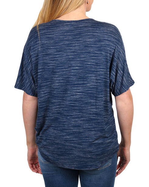 Moa Moa Women's Crisscross and Tie Front Short Sleeve Top, Navy, hi-res