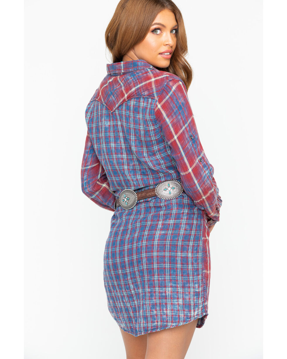 Ryan Michael Women's Double Face Plaid Dress , Indigo, hi-res