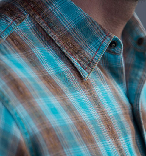 Ryan Michael Men's Brushed Ombre Dobby Plaid Shirt, Lake Blue, hi-res