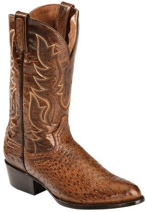 Dan Post Cognac Quilled Ostrich Cowboy Boots - Round Toe, Cognac, hi-res
