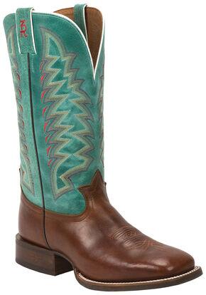 Tony Lama Cognac Crockett 3R Western Cowboy Boots - Square Toe , Cognac, hi-res