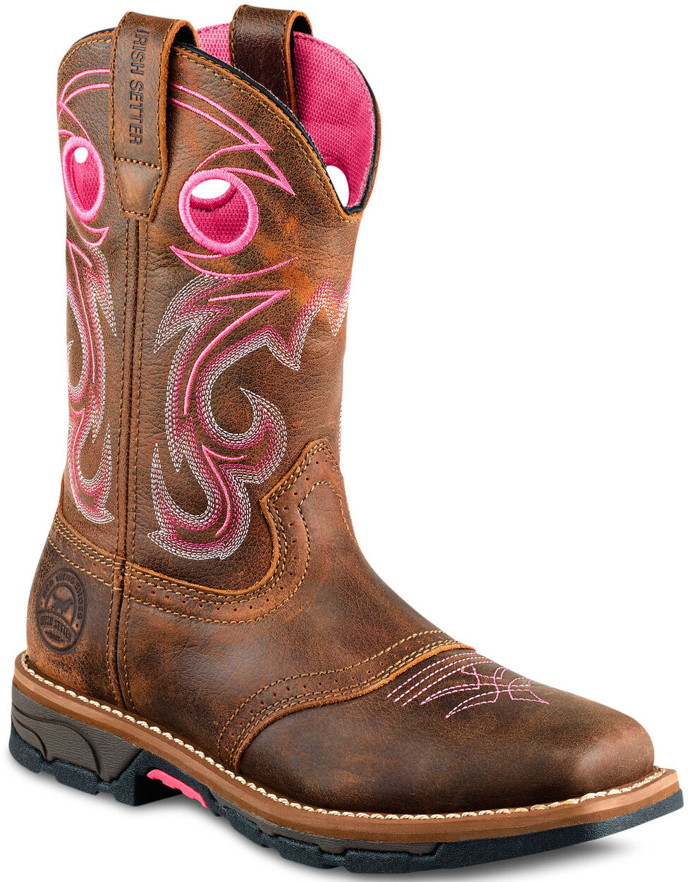 Irish Setter by Red Wing Shoes Women's Marshall Pink Work Boots - Steel Toe , Brown, hi-res