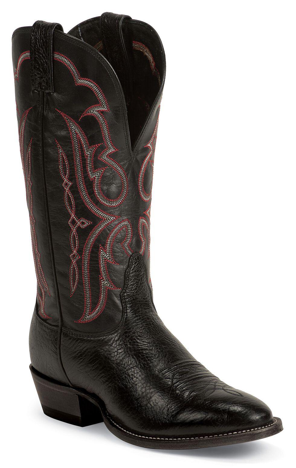 Nocona Bull Shoulder Western Cowboy Boots - Wide Round Toe, Black, hi-res