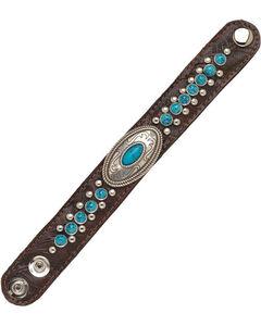 American West Women's Chestnut Narrow Turquoise Cuff Bracelet , Chestnut, hi-res