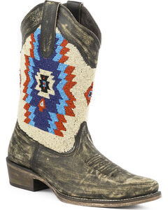 Roper Women's Aztec Beaded Shaft Boot - Snip Toe, , hi-res