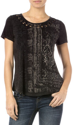 Miss Me Black Mineral Washed Graphic T-Shirt  , Black, hi-res