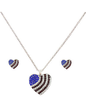 Shyanne American Flag Heart Jewelry Set, Silver, hi-res