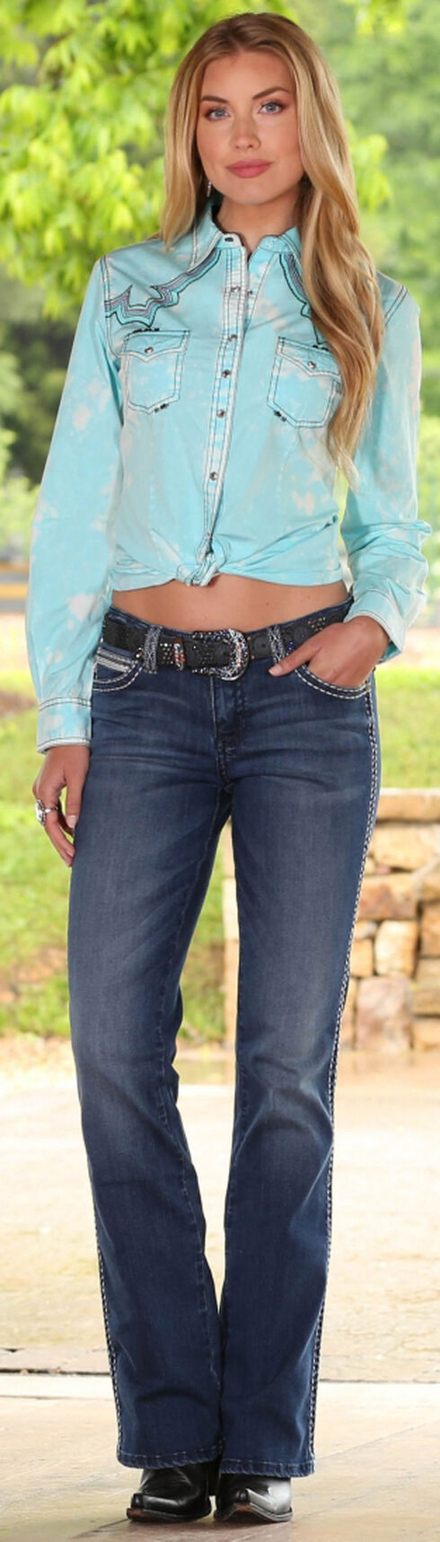 Wrangler Women's Rock 47 Turquoise Embroidered Fancy Yokes Solid Top, Turquoise, hi-res