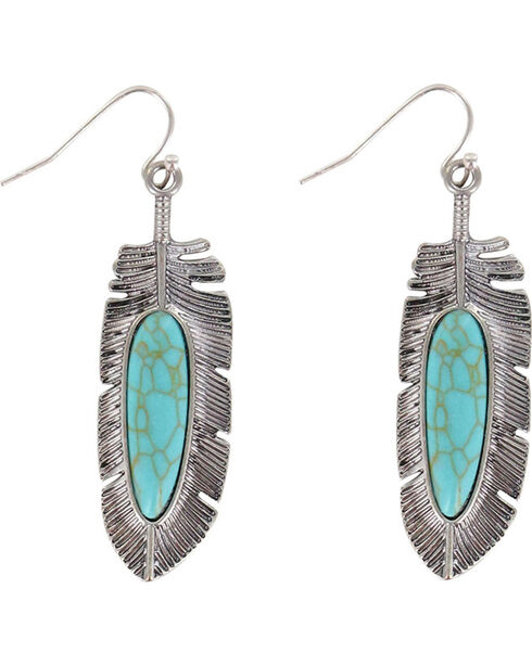 Shyanne® Women's Turquoise Feather Earrings, Silver, hi-res