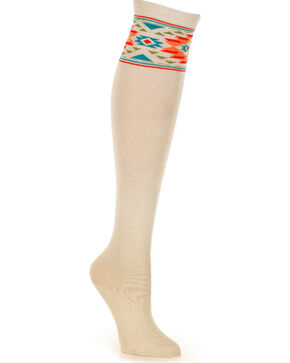 Shyanne Women's Southwest Knee High Socks , Taupe, hi-res