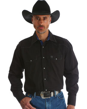 Wrangler George Strait Men's Troubadour Black Long Sleeve Shirt - Tall, Black, hi-res
