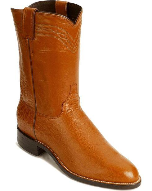 Justin Smooth Ostrich Roper Cowboy Boots, Cognac, hi-res