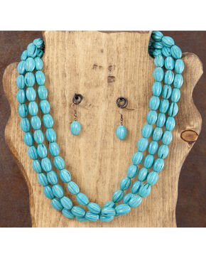 West & Co. 3-Strand Turquoise Melon Bead Necklace & Earrings Set, Turquoise, hi-res