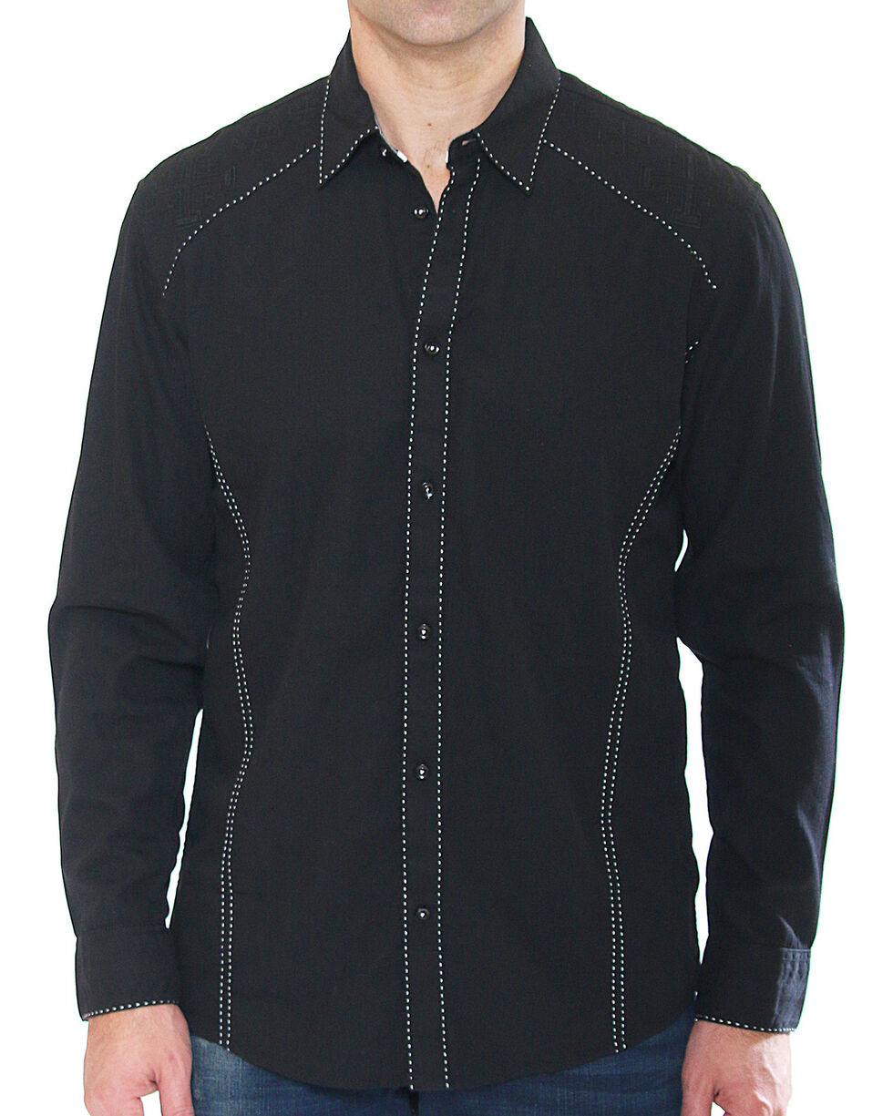 Austin Season Men's Long Sleeve Contrast Stitching Button Down Shirt, Black, hi-res