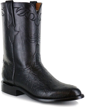 Lucchese Men's Ward Smooth Ostrich Roper Boots - Round Toe, Black, hi-res