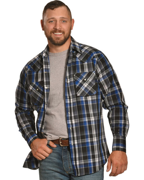 Ely Cattleman Men's Blue Lurex Plaid Shirt , Indigo, hi-res