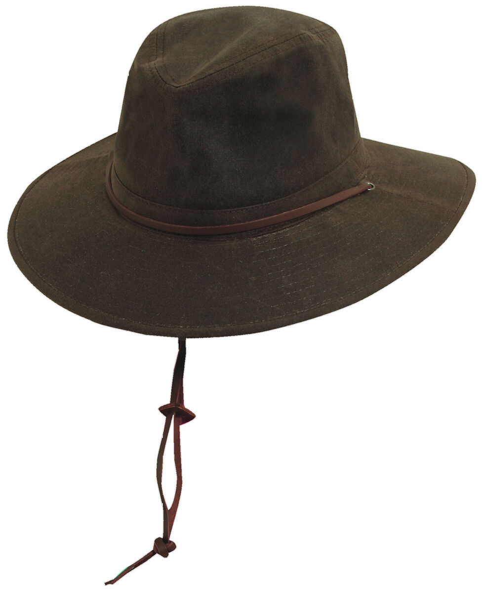 Scala Men's Brown Oil Cloth with Leather Chin Cord Hat, Brown, hi-res