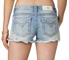 Miss Me Women's Blue Applique Lace Side Shorts, Blue, hi-res