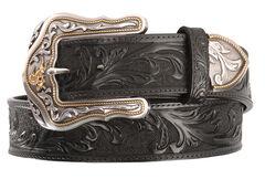 Tony Lama Westerly Ride Leather Belt - Reg & Big, Black, hi-res