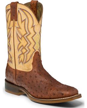"""Nocona Men's 11"""" Ostrich Print Cowboy Boots - Square Toe, Cognac, hi-res"""
