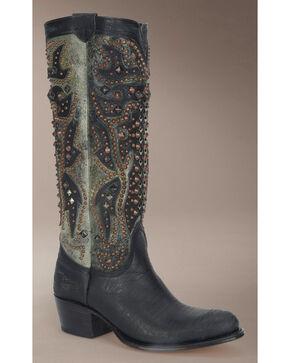 Frye Women's Deborah Deco Tall Cowgirl Boots - Round Toe, Black, hi-res