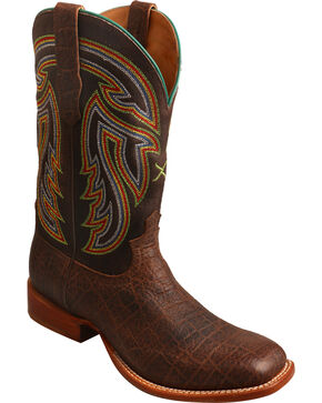 Twisted X Men's Chocolate Rancher Elephant Print Boots - Square Toe , Chocolate, hi-res