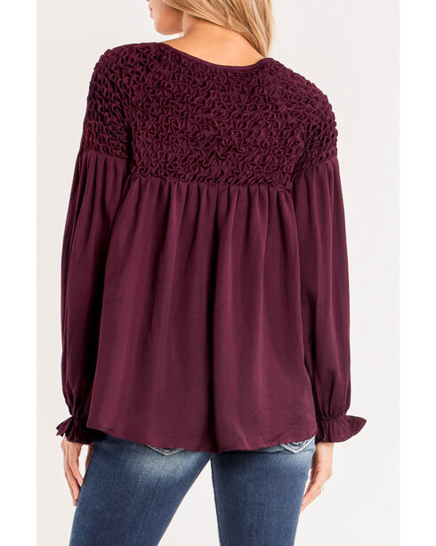 Miss Me Women's Burgundy Smocked Peasant Top, Burgundy, hi-res