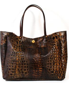 SouthLife Supply Women's Chocolate Croc Medium Bucket Bag, Chocolate, hi-res