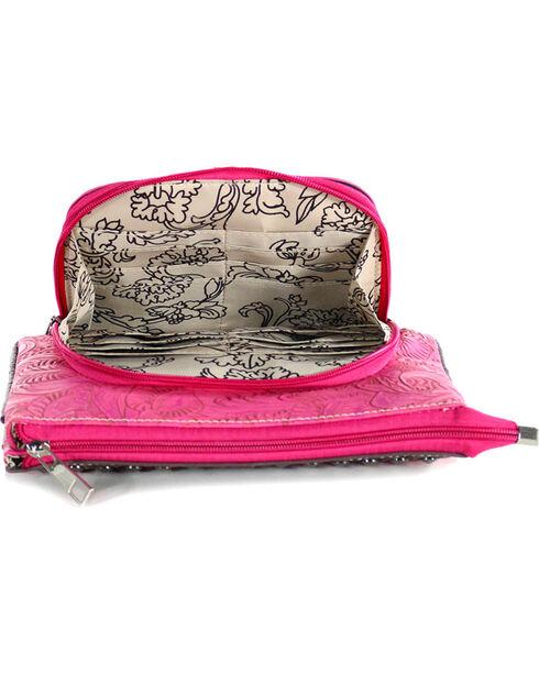Savana Women's Floral Tooled Hot Pink Crossbody Bag, Hot Pink, hi-res