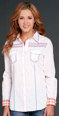 Cowgirl Up White Long Sleeve Embroidered Shirt, White, hi-res