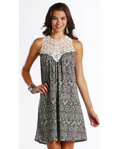 Rock & Roll Cowgirl Women's White Paisley Printed Dress , White, hi-res