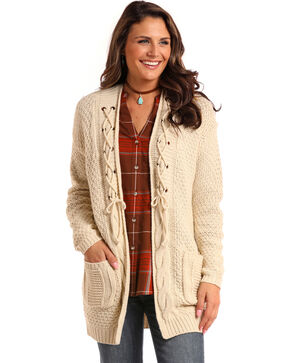 Panhandle Women's Cream Lace-Up Cardigan Sweater , Cream, hi-res