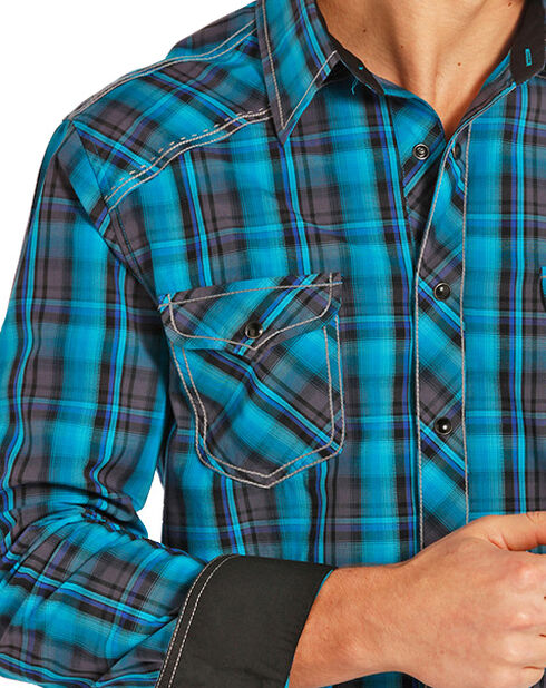 Rock and Roll Cowboy Men's Teal and Black Plaid Snap Western Shirt , Black, hi-res